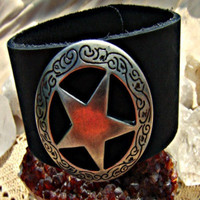 Christmas in July Leather Bracelet Star Cuff Xmas in July CIJ