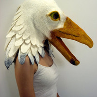 Hand felted seagull animal mask / head dress suitable for performance, dance or theatre
