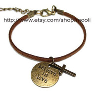 soft imitation leather bracelet cuff Believe IN Love pendant bracelet Cross pendant bracelet adjustable B551
