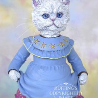Floradora the Persian Kitten, Original, One-of-a-kind, Hand-painted Folk Art Cat Doll Figurine by Max Bailey, Free Shipping Within The USA