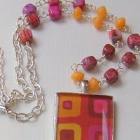 Silver Pendant Charm Beaded Necklace Earrings Fuchsia Pink Peach Resin FREE SHIPPING