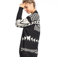 Woven Heart Ethnic Dolman Womens Cardigan Black Combo  In Sizes