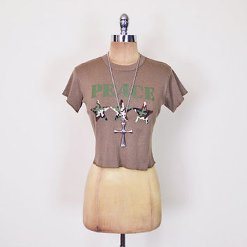 Vintage 90s Crop Top Crop T-Shirt US Army T-Shirt Camouflage Print Camo Print Peace Star Brown 90s Top 90s Grunge Top Club Kid Top M Medium