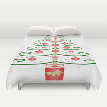 Christmas Tree Design Duvet Cover by Justbyjulie
