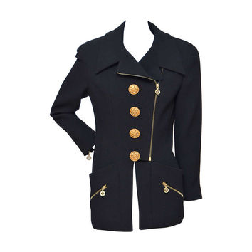 Chanel Vintage Jacket With Large Buttons And CC Zippers As Seen On Claudia
