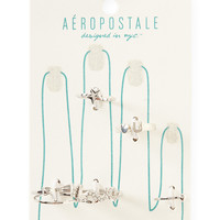 Aeropostale Love Star Assorted Ring 6-Pack - Silver,