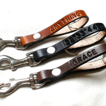 Personalized leather keychain, key fob, keyring with trigger hook, long, available in 15 colors
