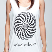 Animal Collective T Shirt Indie Band Mystery Circle Women White T-Shirt Vest Tank Top Singlet Sleeveless Size M L