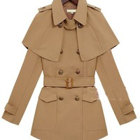 Vintage Brown Slim Double-breasted Detachable-cape Coat - Sheinside.com