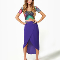 Tulip Season High-Low Purple Skirt