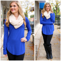 The Perfect Long-Sleeved Tunic - Royal - ROYAL /