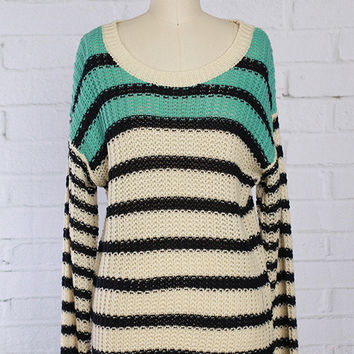 Mint and Black Striped Knit Sweater