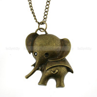 Vintage antique bronze elephant necklace
