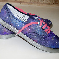 Galaxy Cosmos custom canvas sneakers size  US 8 1/2 with crystals