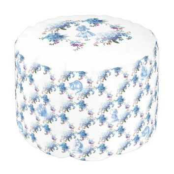 Alice in Wonderland Blue Floral Pouf Seat