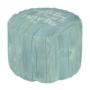 Beach Happy Place Aqua Wood Pouf Seat