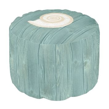 Seashell Beach Aqua Wood Pouf Seat