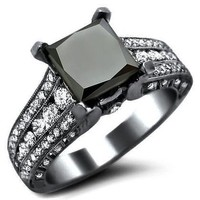 3.10ct Black Princess Cut Diamond Engagement Ring 18k Black Gold Rhodium Plating Over White Gold
