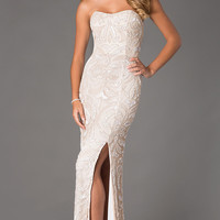 Floor Length Strapless Dress with Sequin Detail