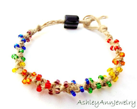 Rainbow Hemp Bracelet Spiral Knot Made to Order