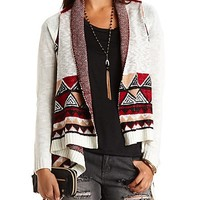 Aztec Cascade Cardigan Sweater by Charlotte Russe - Ivory Combo