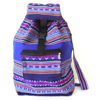 Tribal Fabric Backpack, Latin American, Peru, Cobalt Blue Stripes