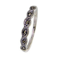 Natural Mercasite Stone Sterling Silver Women Ring, Sleek Model