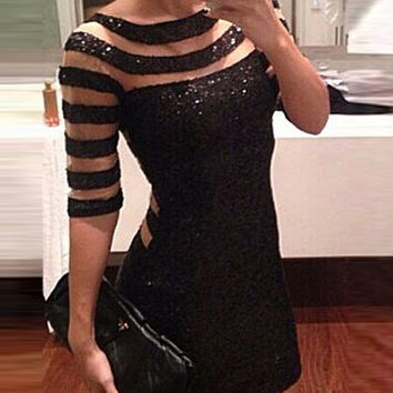 Black Stripe Bodycon Dress With Half Sleeves