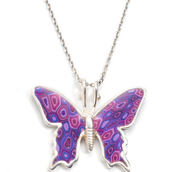 Butterfly Jewelry - Handmade Polymer Clay Necklace - Purple Millefiori Pattern - FREE SHIPPING