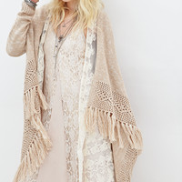 FOREVER 21 Open-Front Shawl Cardigan Taupe/Cream