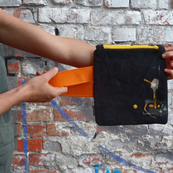 Dark Grey Orange Yellow Waxed Urban Glam Clutch Bag Unique Hand Painted Purse