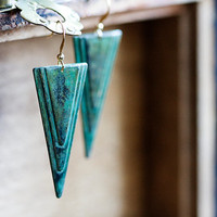 Patina Triangle Earrings Verdigris Turquoise Geometric Earrings Rustic Green Retro Charm Long Dangles - E264
