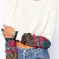 Milk It Vintage Cropped Cable Jumper With Floral & Pom Pom Detail
