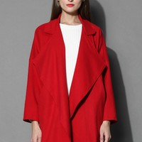 Mist Waterfall Drape Coat in Red Red