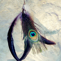 Black Moon peacock &amp; coque feather antiqued brass by pareket