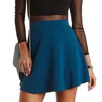 Textured High-Waisted Skater Skirt by Charlotte Russe - Shaded Spruce