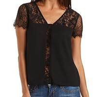 Sheer Lace & Chiffon Top by Charlotte Russe - Black