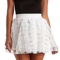 Patterned Organza Skater Skirt by Charlotte Russe - Ivory