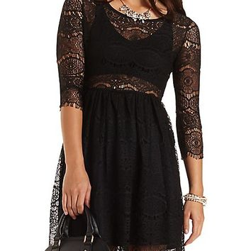 Scalloped Lace Babydoll Dress by Charlotte Russe - Black