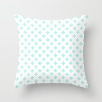 Cross Pattern Mint Throw Pillow by Pattern Plus | Society6