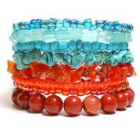 Stacked Bracelet Tangerine and Turquoise Memory Wire Beaded Wrap With Jasper Turquoise and Carnelian Beads