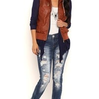 Distressed Faux Leather Vest with Knit Hood