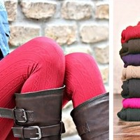 FAVORITE! Cable Knit Textured Fleece Lined Leggings! 17 Colors!