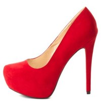 Almond Toe Hidden Platform Pumps by Charlotte Russe - Red