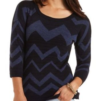 Variegated Chevron Tunic Sweater by Charlotte Russe - Navy Combo