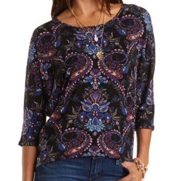 Paisley Print Dolman Top by Charlotte Russe - Purple Combo