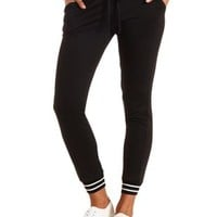 Sporty Striped Sweatpants by Charlotte Russe - Black