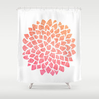 Coral Dahlia Shower Curtain,  Coral Sea Glass Dahlia - mosaic pattern  - floral, pink orange ,  bathroom coastal modern decor