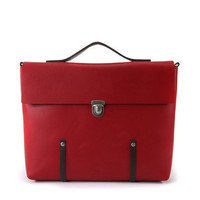 Unique Leather Brief Case / Messenger Bag / Backpack collaboration with junev -  Red