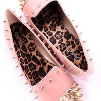 ROSE PINK SPIKED FLATS